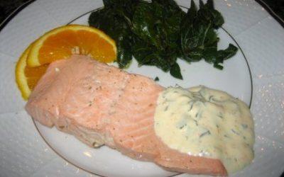 Poached Salmon with Orange Tarragon Mayonnaise